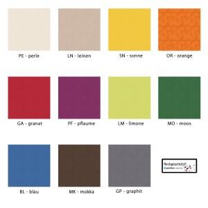 Farbpalette Maßanfertigung Pichler Ipanema oval
